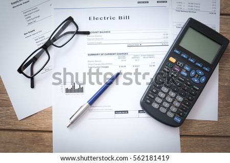Electricity bill paper form on the table