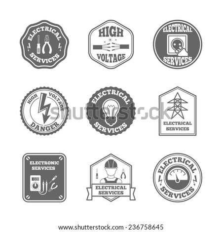 Electricity black label set electrical services high voltage isolated  illustration - stock photo