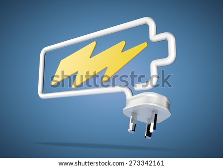 Electricity cable and plug bends to make the shape of a battery icon with an electrical lightening bolt.