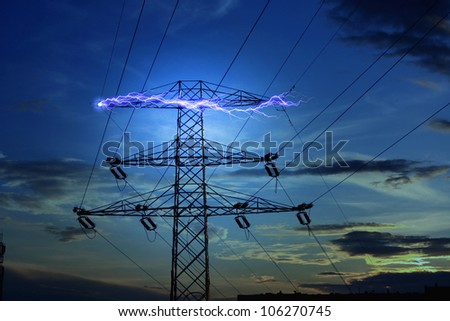 Electricity concept with lightning in the night - stock photo