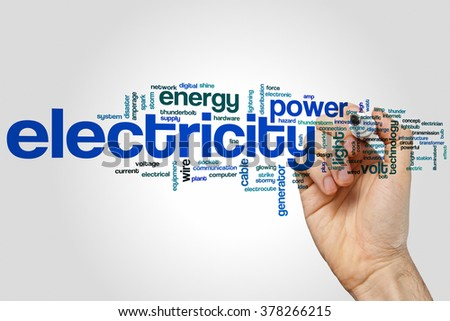Electricity concept word cloud background - stock photo