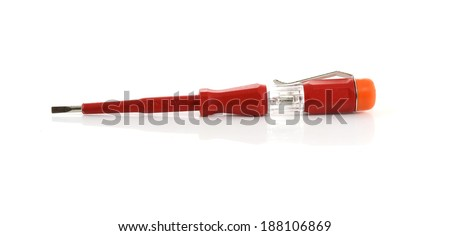 electricity current meter and turn-screw tool isolated on white - stock photo