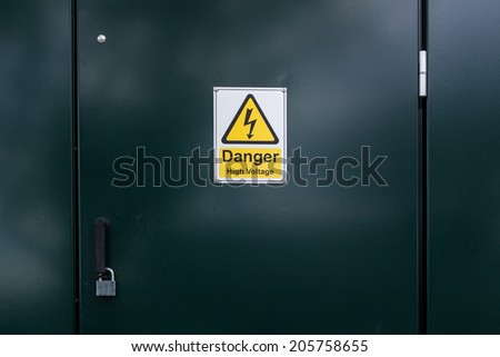 Electricity Danger sign on the door