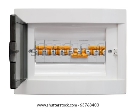 Electricity distribution box. Fusebox. Isolated on white background with clipping path. - stock photo