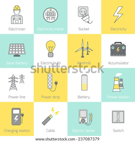 Electricity flat line icons set with socket solar battery windmill  illustration - stock photo