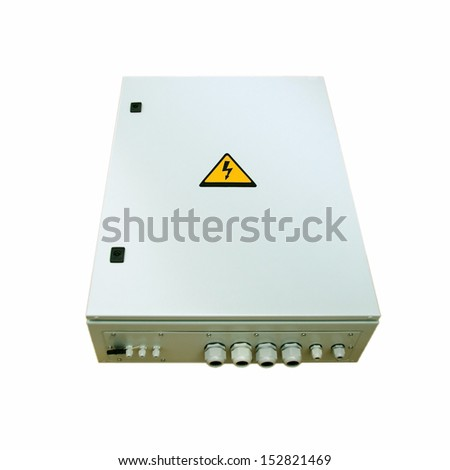 Electricity fuse control box with high voltage sign isolated on white - stock photo