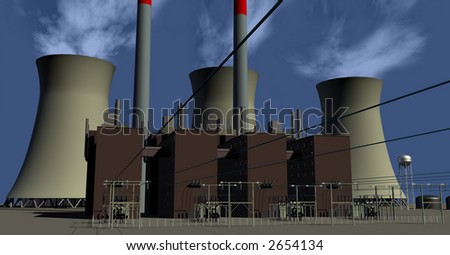Electricity Generating Plant with Cooling Towers - stock photo