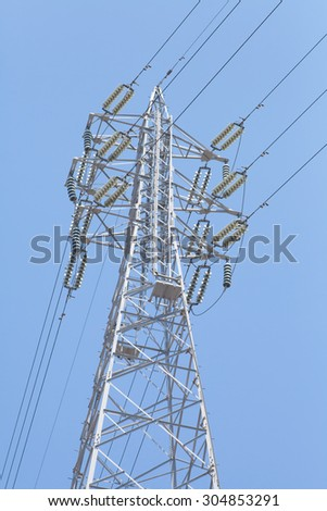 Electricity high voltage pole and blue sky