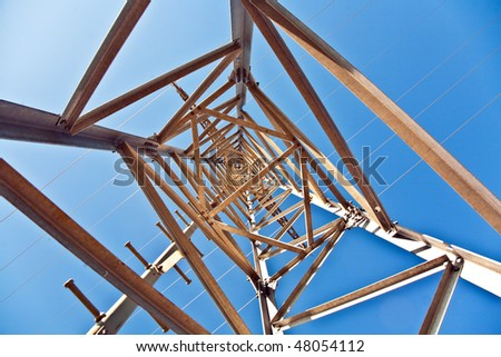 electricity high voltage tower with blue sky