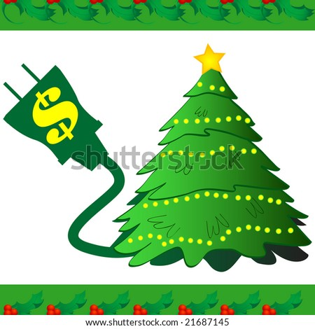 Electricity icon for Christmas lights. Inspire people to think about the cost of powering their decorations. - stock photo