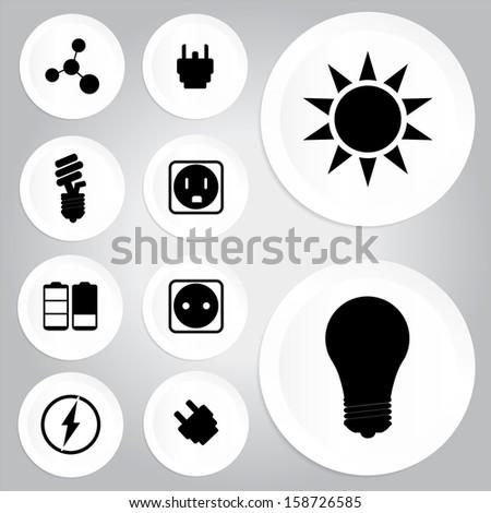 Electricity icons - jpg. - stock photo