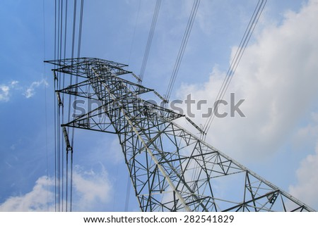 Electricity pillars against blue  cloudy  sky