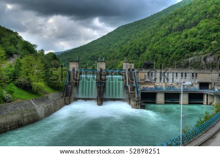 Electricity plant - Hydro electric power plant - powerplant - stock photo