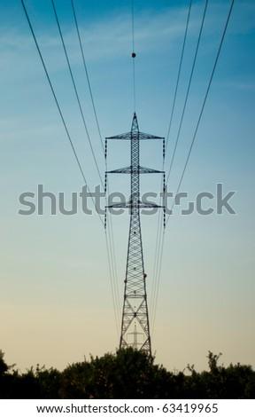 electricity pole - stock photo