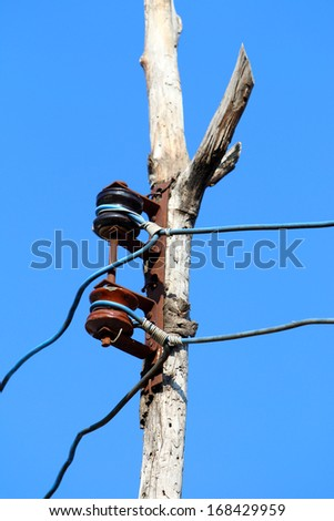 Electricity pole in rural area