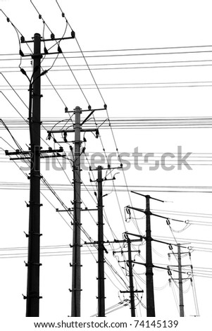 Electricity poles isolated on white - stock photo