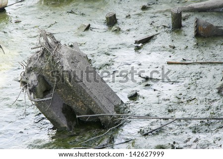 Electricity post after the flood - stock photo