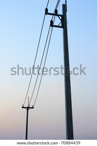 electricity post in twilight day - stock photo