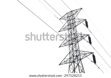 electricity post isolated on white background - stock photo