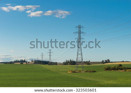 electricity post on country side - stock photo