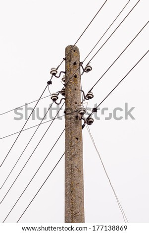 Electricity post with wire lines. Power electric distribution - stock photo