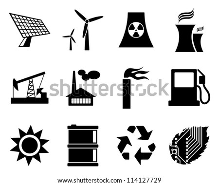 Electricity, power and energy icon set. Raster version.