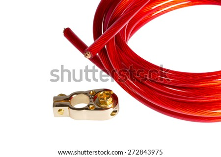 Electricity power cable and positive contact terminal CAR battery isolated on white background - stock photo