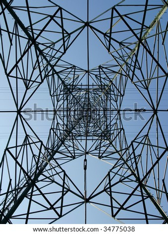 electricity pylon abstract on blue sky
