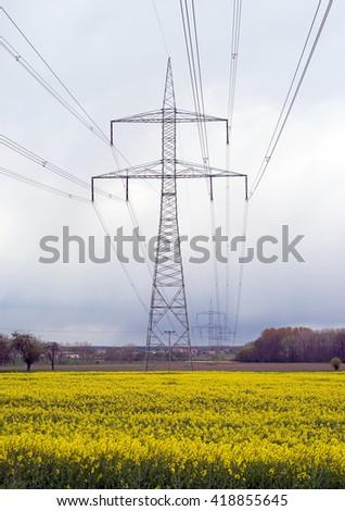 Electricity pylon and yellow rape field / Electricity pylon - stock photo
