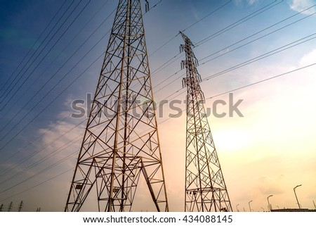 Electricity Pylon -China's standard overhead power line transmission tower of the sunset.
