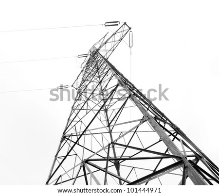 Electricity pylon isolated on white - stock photo
