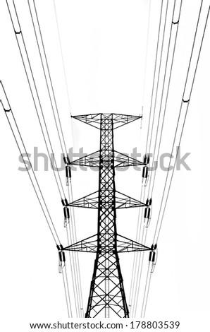 Electricity pylon isolated on white - stock photo