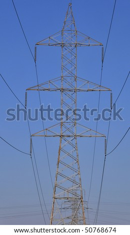 Electricity pylon over the sky. Technology and industry concept