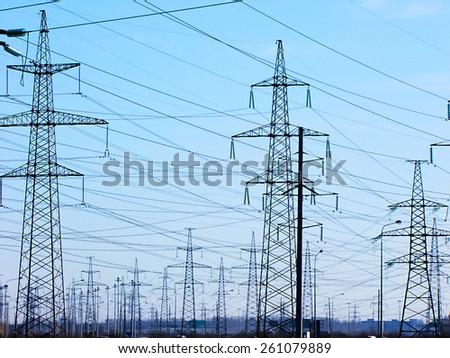 Electricity pylons set - stock photo