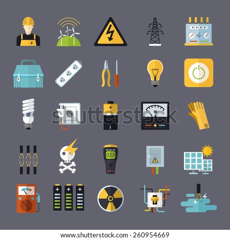 electricity related flat icons set over grey background - stock photo