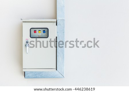 Electricity switch power control box. - stock photo