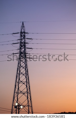 Electricity tower and lines at sunset, Japan