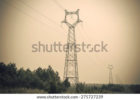 Electricity tower clouds
