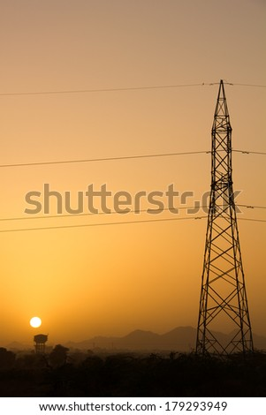 Electricity Tower during Sunset - stock photo