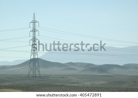 Electricity tower in desert on the Red sea governorate, Egypt. Africa - stock photo
