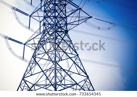 electricity transmission pylon high voltage pole with blue sky abstract