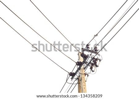 Electricity wire line with white bright sky - stock photo