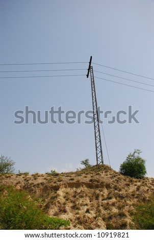 Electricity wires passing through