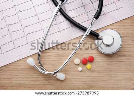 Electrocardiogram. Acoustic stethoscope on an electrocardiogram printout - stock photo