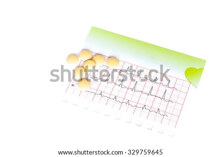 Electrocardiogram and pills, capsules on white. Medical health care. Clinic cardiology heart rhythm and pulse test closeup. Cardiogram printout.  - stock photo