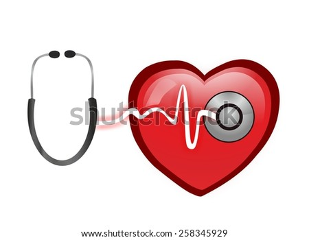 Electrocardiogram and stethoscope - stock photo