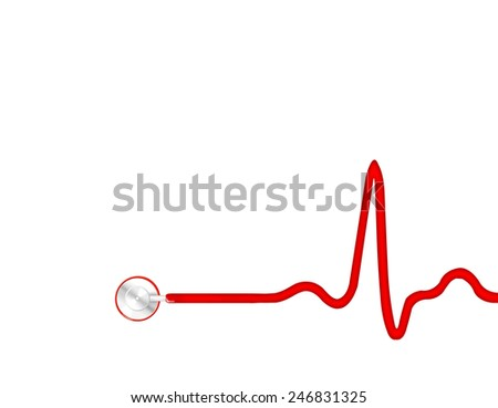 Electrocardiogram (ECG, heart monitor) with stethoscope head - stock photo