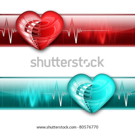 electrocardiogram graph banner - blue and red color variants - stock photo