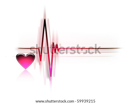 electrocardiogram graph isolated on a white background - stock photo