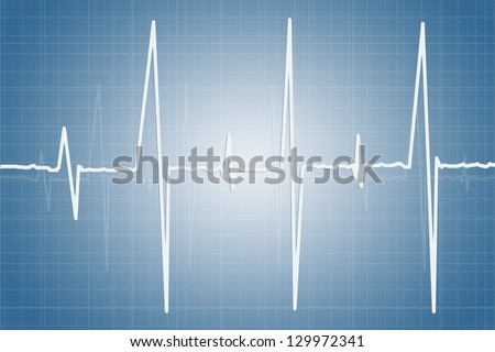 Electrocardiogram - illustration of human heart activity - stock photo